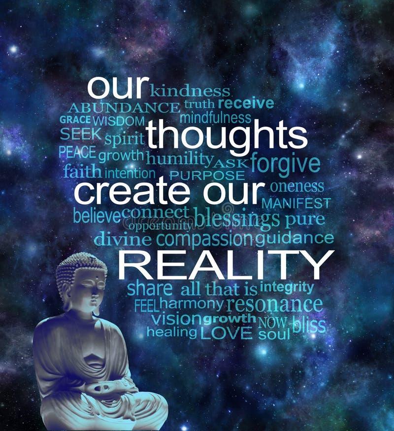 我们的想法创造我们的现实词云彩 库存照片