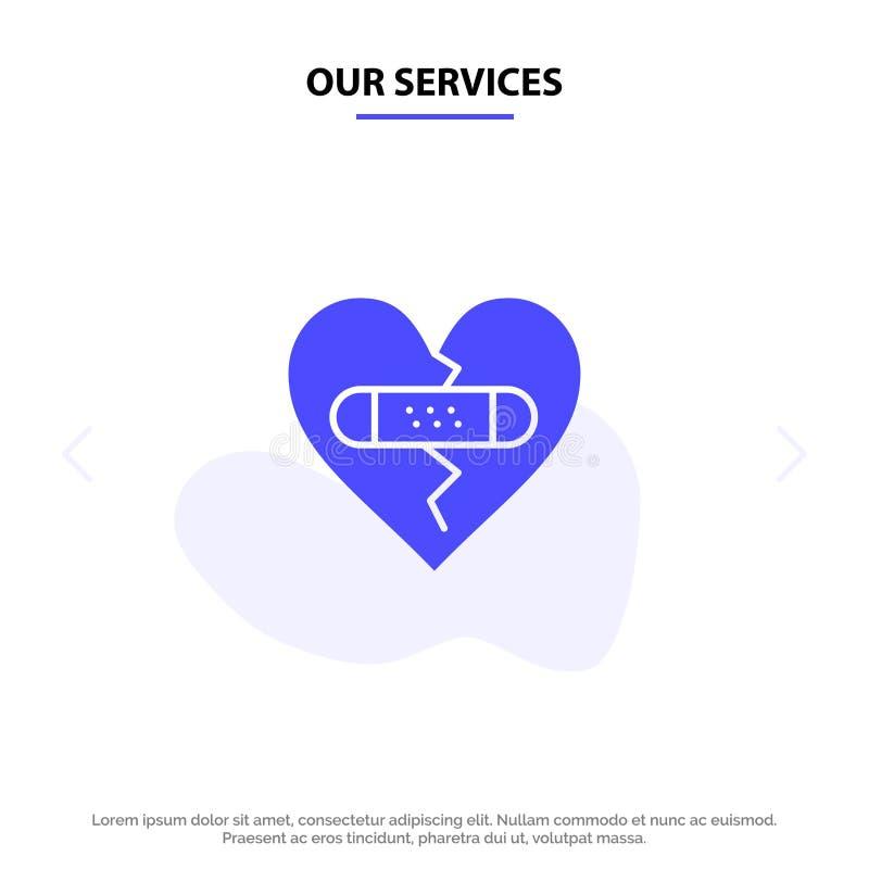 我们的打破的服务,情感,饶恕,心脏,爱坚实纵的沟纹象网卡片模板 向量例证