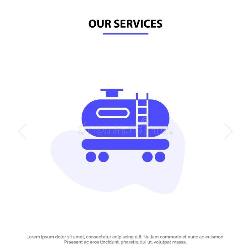 我们的服务上油,坦克,污染坚实纵的沟纹象网卡片模板 皇族释放例证