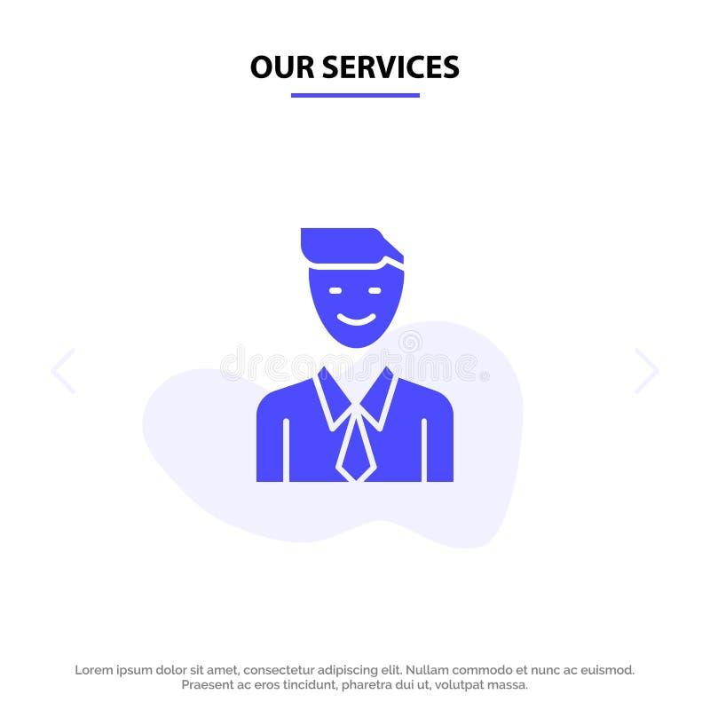 我们的服务业,执行委员,工作,人,选择坚实纵的沟纹象网卡片模板 向量例证