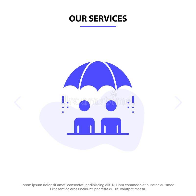 我们的服务业,管理,现代,风险坚实纵的沟纹象网卡片模板 向量例证
