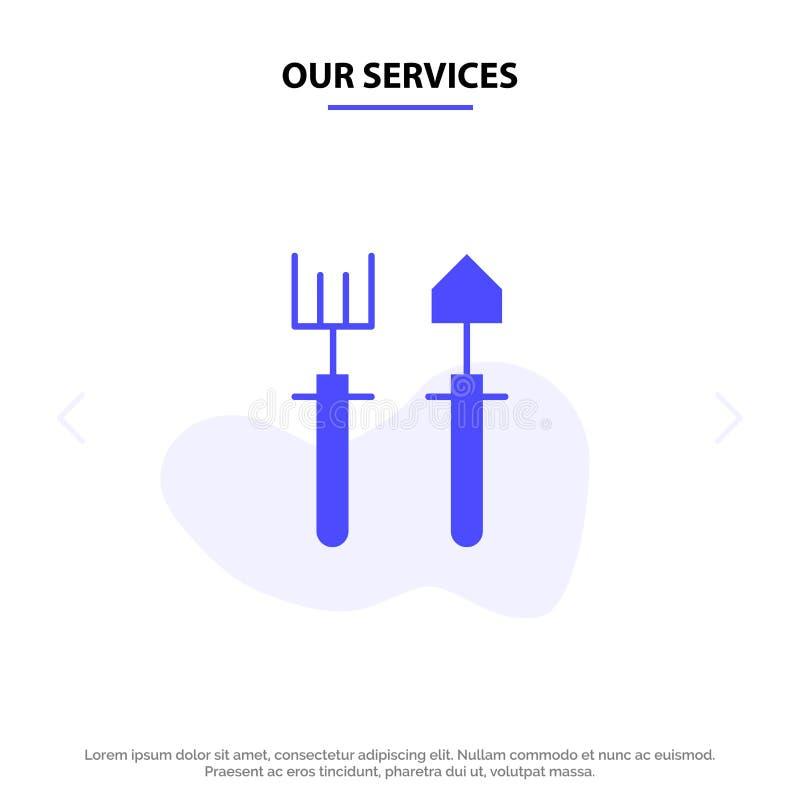 我们的服务从事园艺,花匠,犁耙,铁锹坚实纵的沟纹象网卡片模板 向量例证
