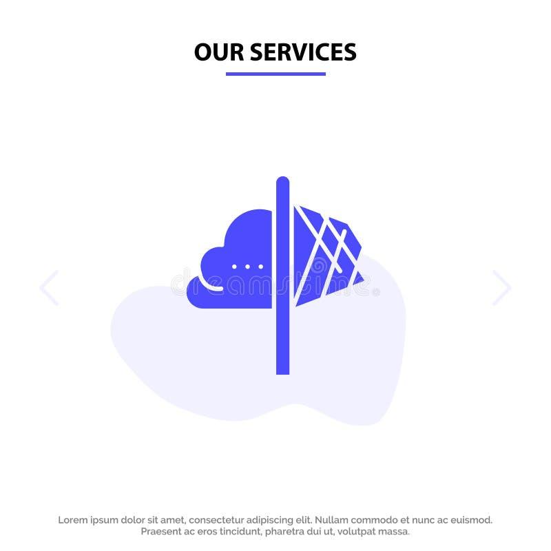 我们的服务创造性,想法,想象力,洞察,启发坚实纵的沟纹象网卡片模板 向量例证