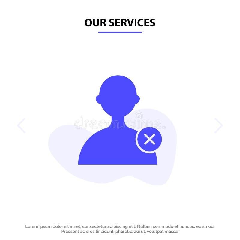 我们的服务删除,供以人员,用户坚实纵的沟纹象网卡片模板 库存例证