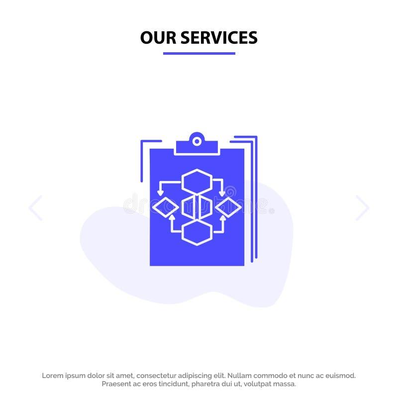 我们的服务剪贴板、业务、图表、流程、流程、工作、工作流实体字形图标Web卡模板 皇族释放例证