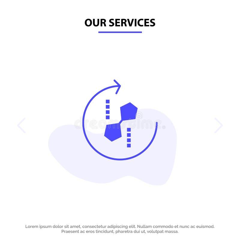 我们的服务困惑,重复,回收,困惑,联合坚实纵的沟纹象网卡片模板 皇族释放例证