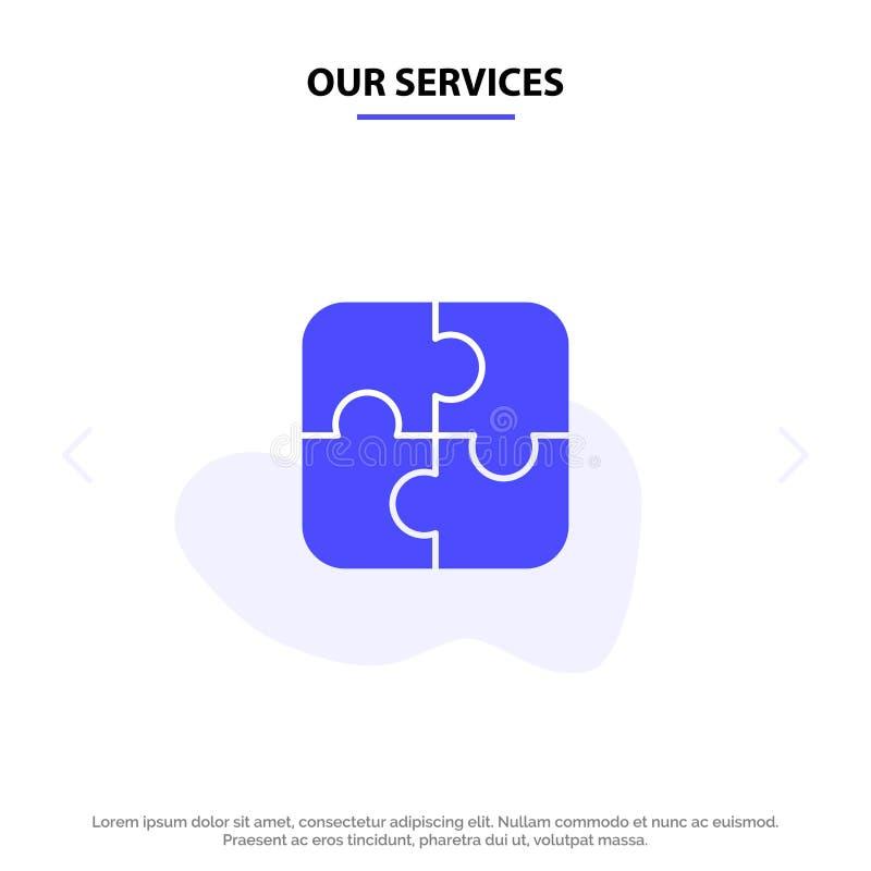我们的服务困惑,零件,战略,配合坚实纵的沟纹象网卡片模板 库存例证