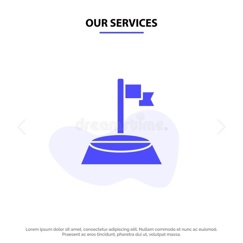 我们的服务垄断,下垂,高尔夫球,体育坚实纵的沟纹象网卡片模板 库存例证