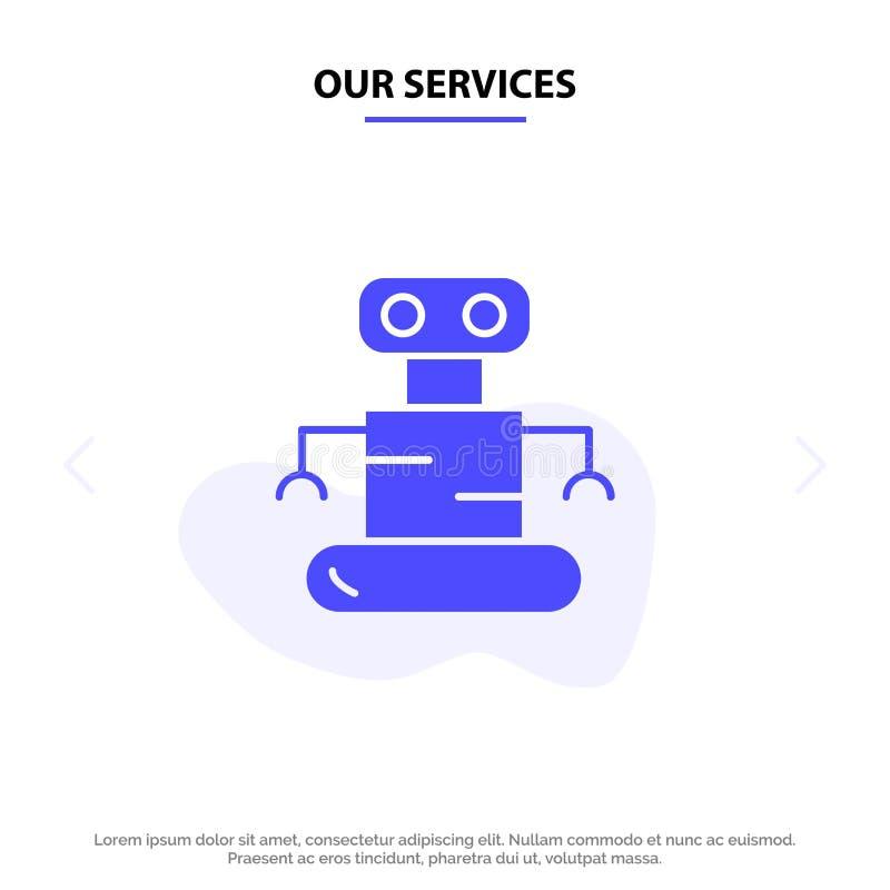 我们的服务外骨骼,机器人,空间坚实纵的沟纹象网卡片模板 皇族释放例证