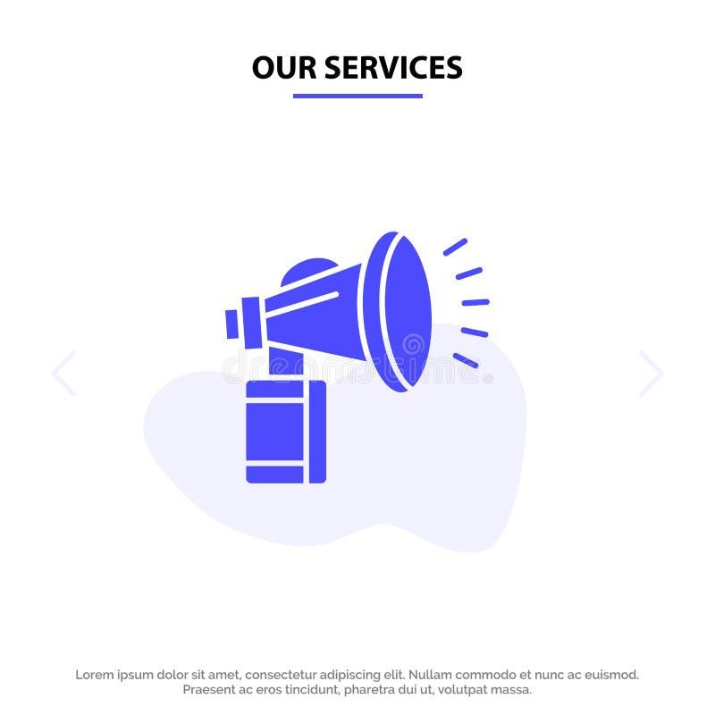 我们的服务宣扬,归因于,装于罐中,扇动,垫铁坚实纵的沟纹象网卡片模板 库存例证
