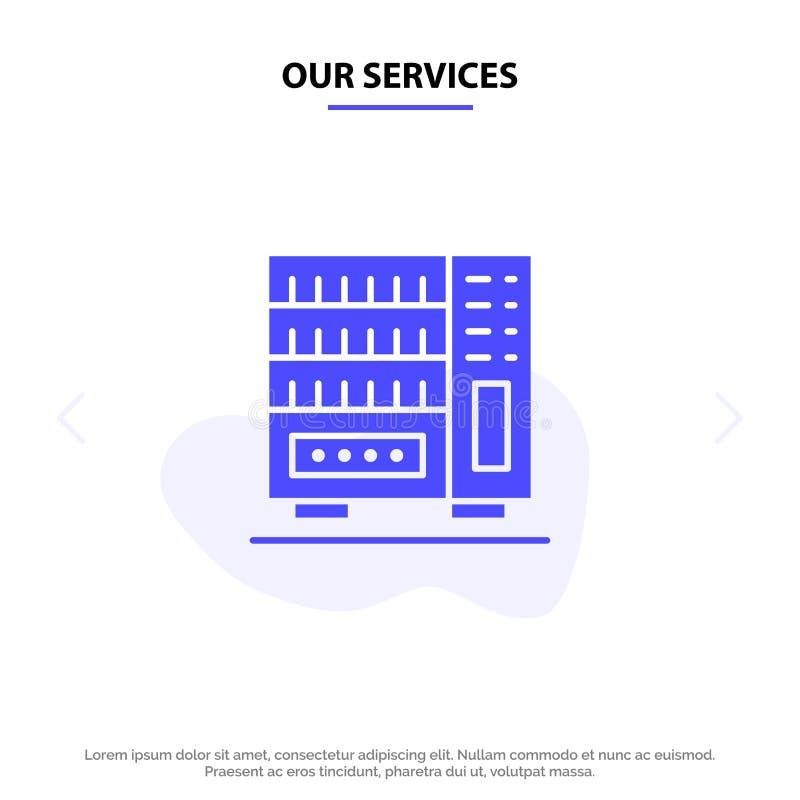 我们的服务家具,内部,衣橱,抽屉坚实纵的沟纹象网卡片模板 向量例证