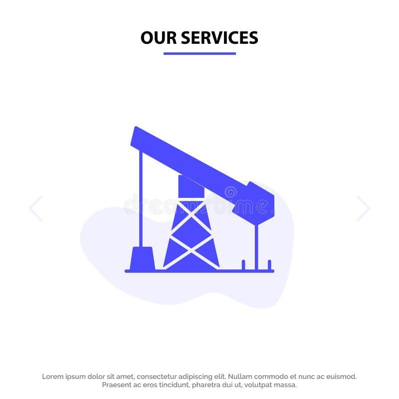 我们的服务建筑,产业,石油,气体坚实纵的沟纹象网卡片模板 皇族释放例证