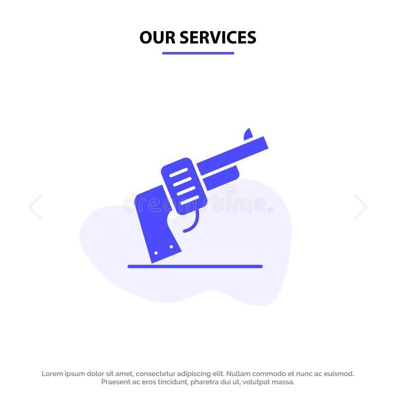 我们的服务开枪,递,武器,美国坚实纵的沟纹象网卡片模板 向量例证
