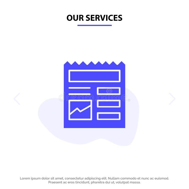 我们的服务提供,基本,Ui,图片坚实纵的沟纹象网卡片模板 库存例证