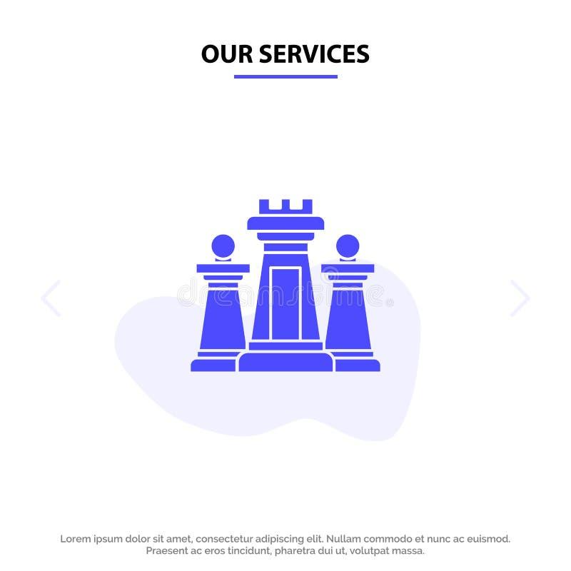 我们的服务棋,计算机,战略,战术,技术坚实纵的沟纹象网卡片模板 库存例证