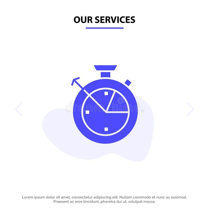 我们的服务测量,时间,时钟,数据科学坚实纵的沟纹象网卡片模板 库存例证