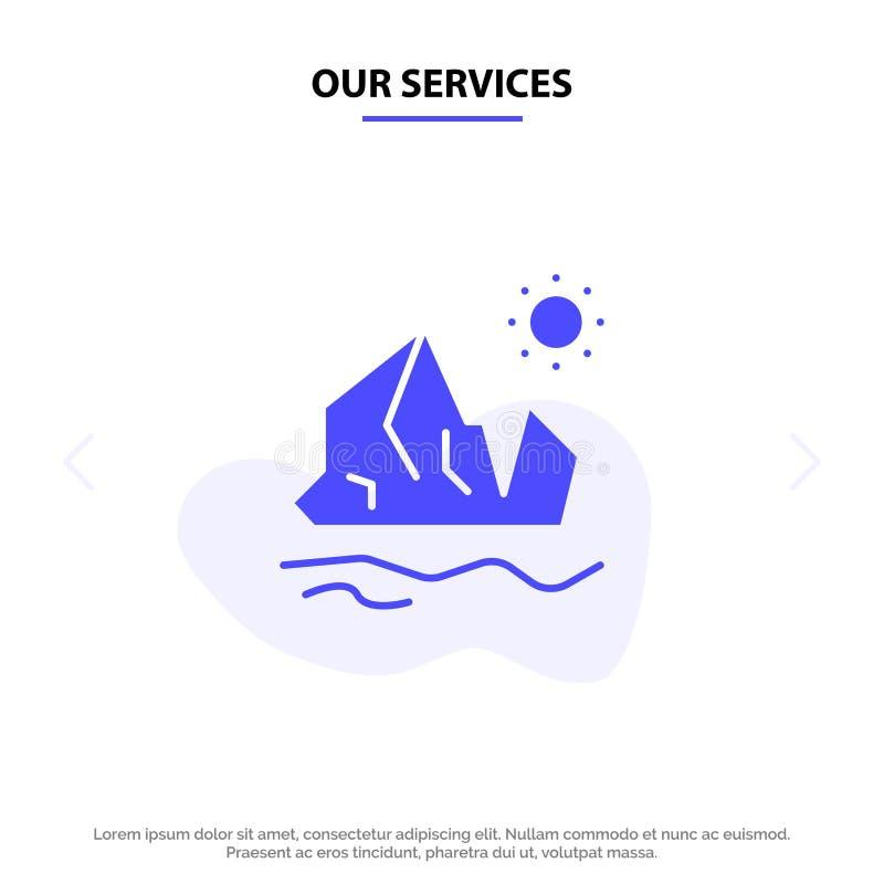 我们的服务生态,环境,冰,冰山,熔化的坚实纵的沟纹象网卡片模板 向量例证