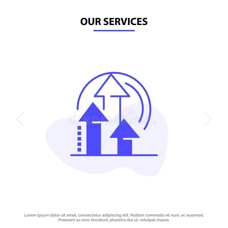 我们的服务管理,方法,表现,产品坚实纵的沟纹象网卡片模板 向量例证