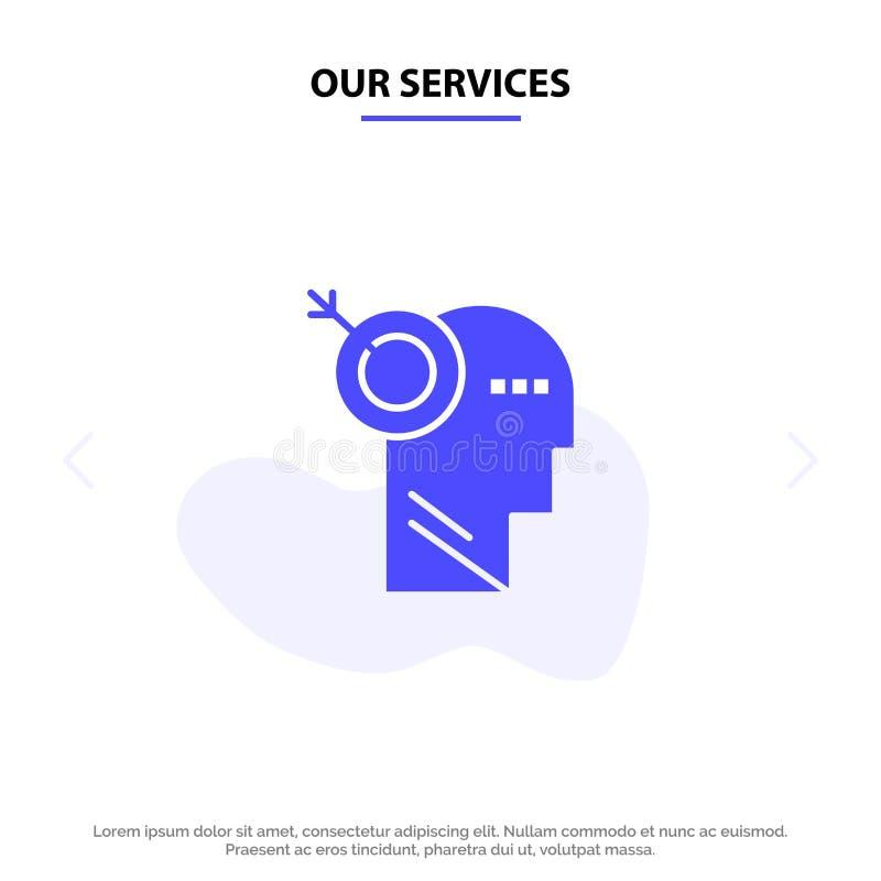 我们的服务箭头,焦点,精确度,目标坚实纵的沟纹象网卡片模板 库存例证