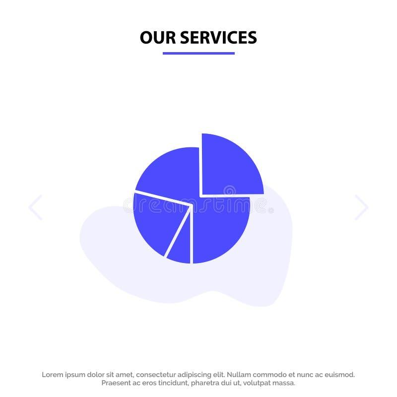 我们的服务绘制,事务,图,财务,图表,饼,统计坚实纵的沟纹象网卡片模板 向量例证