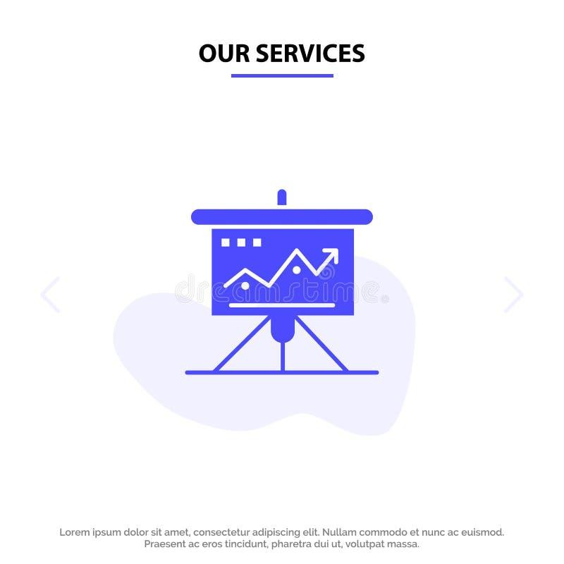 我们的服务绘制,事务,挑战,营销,解答,成功,战术坚实纵的沟纹象网卡片模板 向量例证