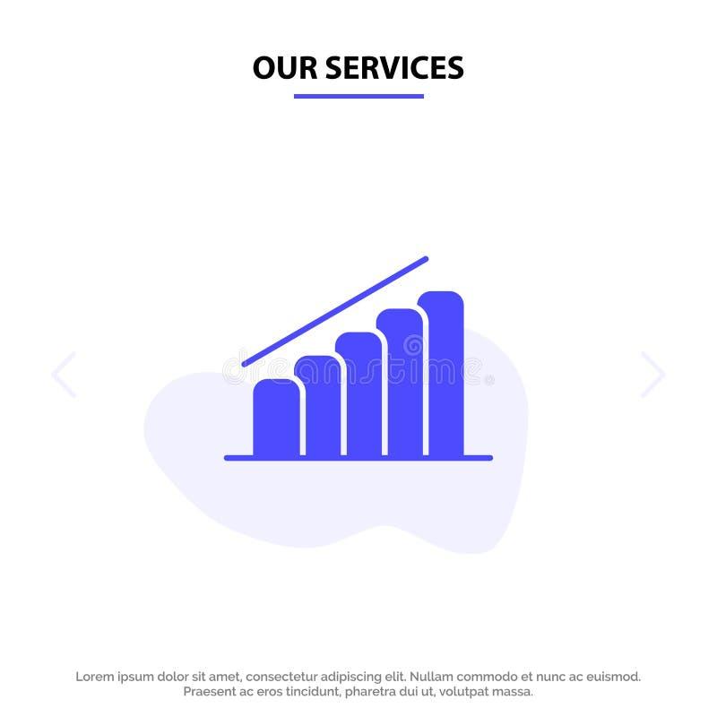 我们的服务绘制,进展,报告,分析坚实纵的沟纹象网卡片模板 库存例证