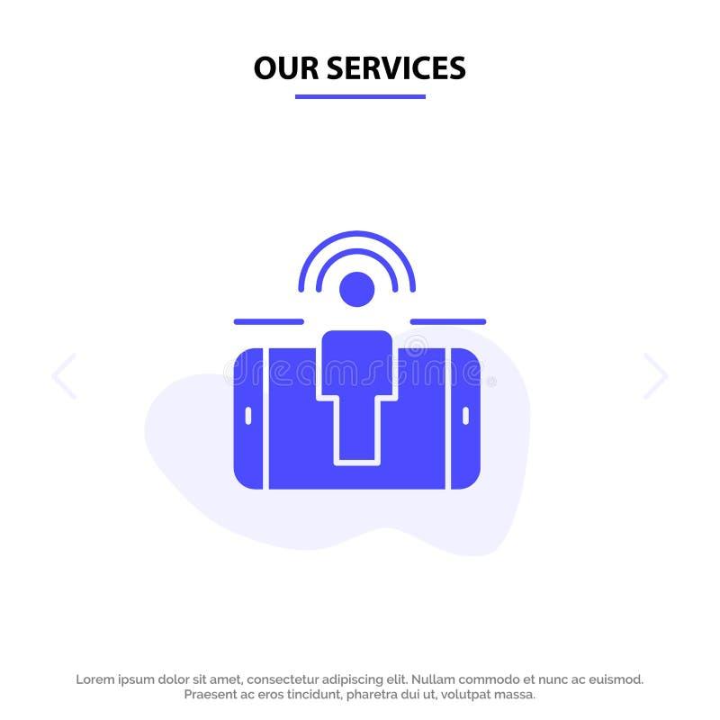 我们的服务订婚,用户,用户订婚,销售的坚实纵的沟纹象网卡片模板 皇族释放例证
