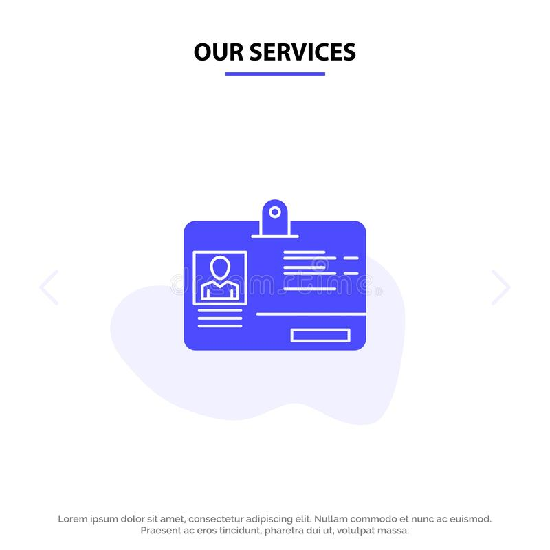 我们的服务通过,拟订,身分,Id坚实纵的沟纹象网卡片模板 向量例证