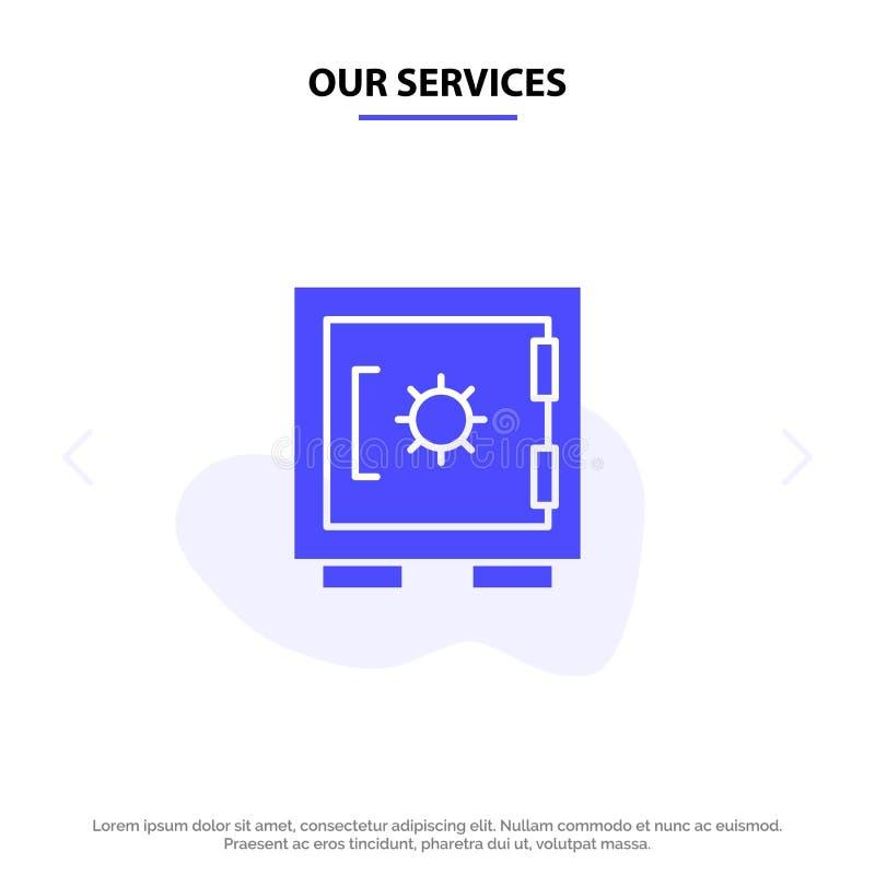我们的服务锁,衣物柜,安全,安全坚实纵的沟纹象网卡片模板 库存例证