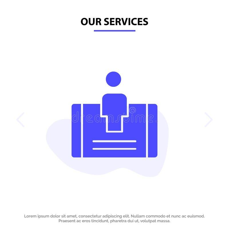 我们的服务顾客,订婚,机动性,社会坚实纵的沟纹象网卡片模板 向量例证