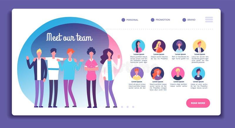 我们的队页 职员组织结构 关于我们与专业具体化,男女明亮的面孔的网页 向量例证