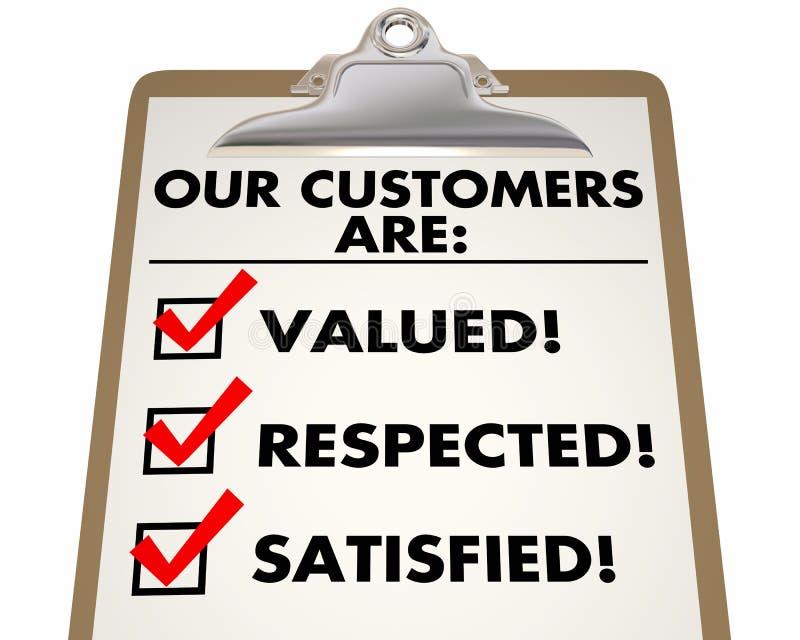 我们的顾客被重视尊敬满意的清单3d Illust 皇族释放例证