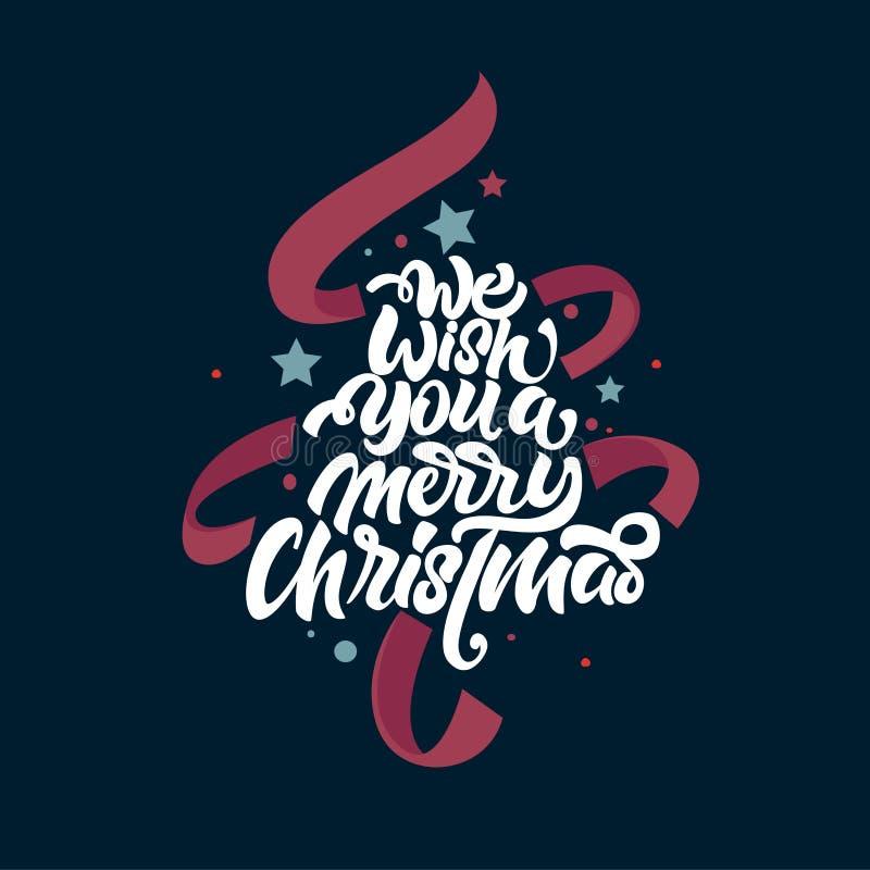 我们祝愿您圣诞快乐在上写字 在与丝带的圣诞节树上写字 海报的,明信片,礼物新年字法 向量例证