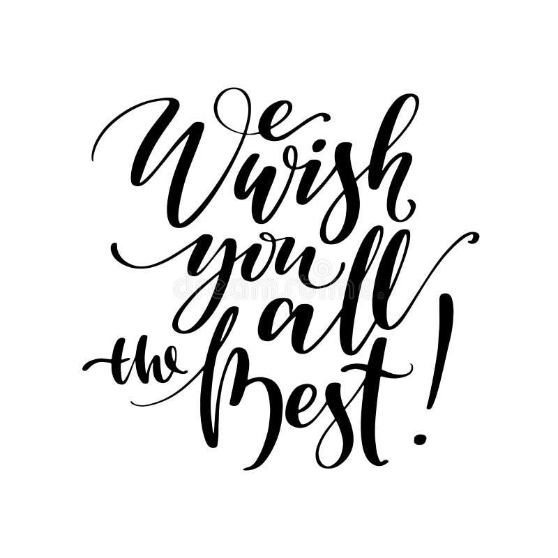 我们祝愿您所有最佳的生日问候行情 在印刷术上写字 用手词组 o 库存例证