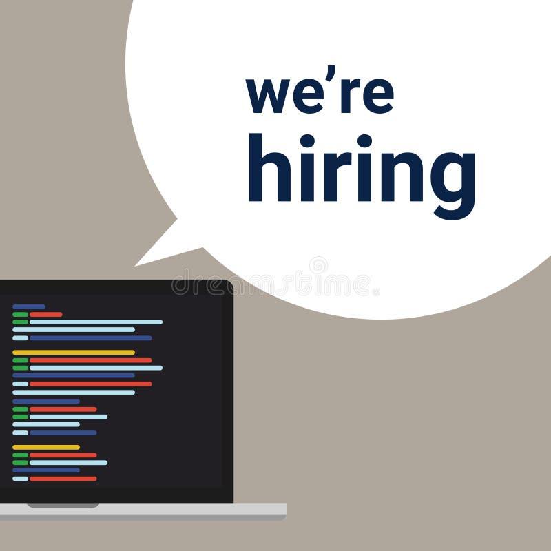 我们聘用程序员编制程序开发商、空置一个的标志和题字我们关于聘用与膝上型计算机屏幕 事务 库存例证