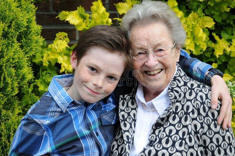 我和祖母 库存图片