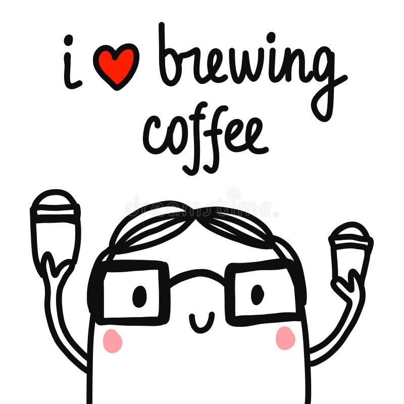 我喜爱酿造与barista男孩的咖啡手拉的例证与两杯咖啡的玻璃的卡片的简单派 皇族释放例证