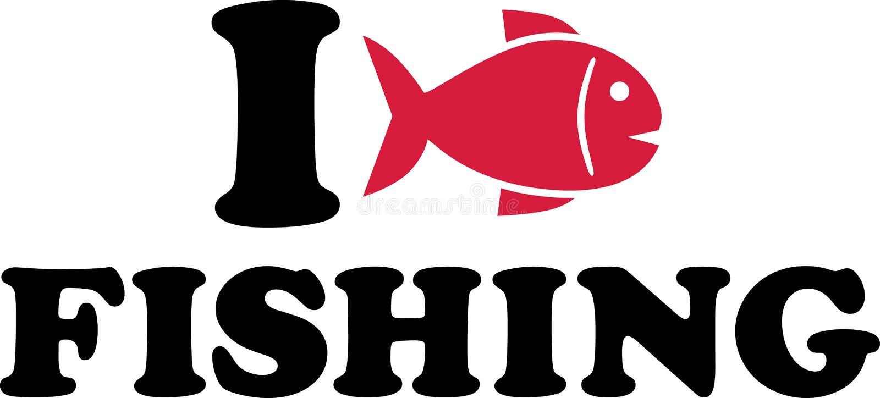 我喜爱钓鱼与鱼 向量例证