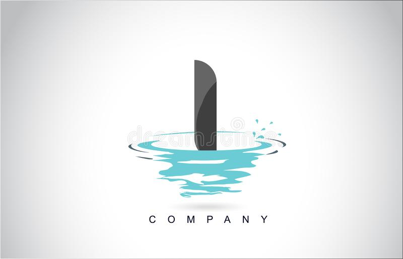 我在与水飞溅波纹下落反射的商标设计上写字 向量例证