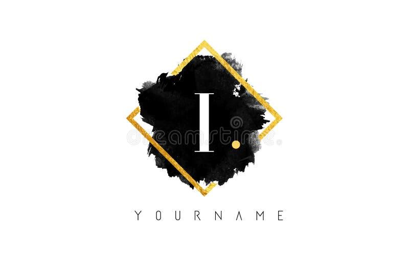 我在商标上写字设计与黑冲程和金黄框架 免版税图库摄影