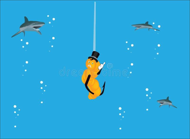 我在海喜爱钓鱼与诱饵和鲨鱼 向量例证