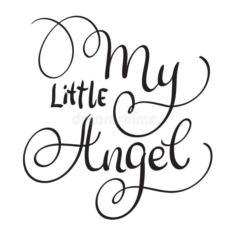 我在白色背景的小的天使词 手拉的书法字法传染媒介例证EPS10 向量例证