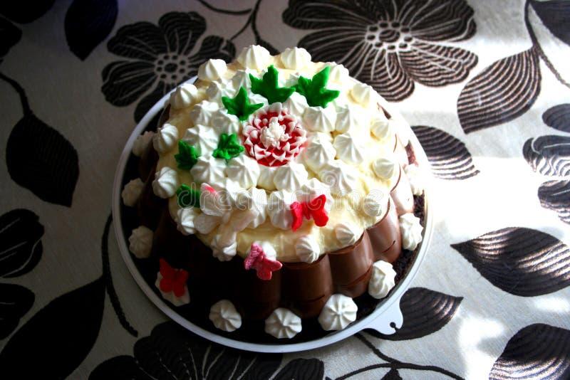 我妻子家准备的巧克力蛋糕 免版税图库摄影
