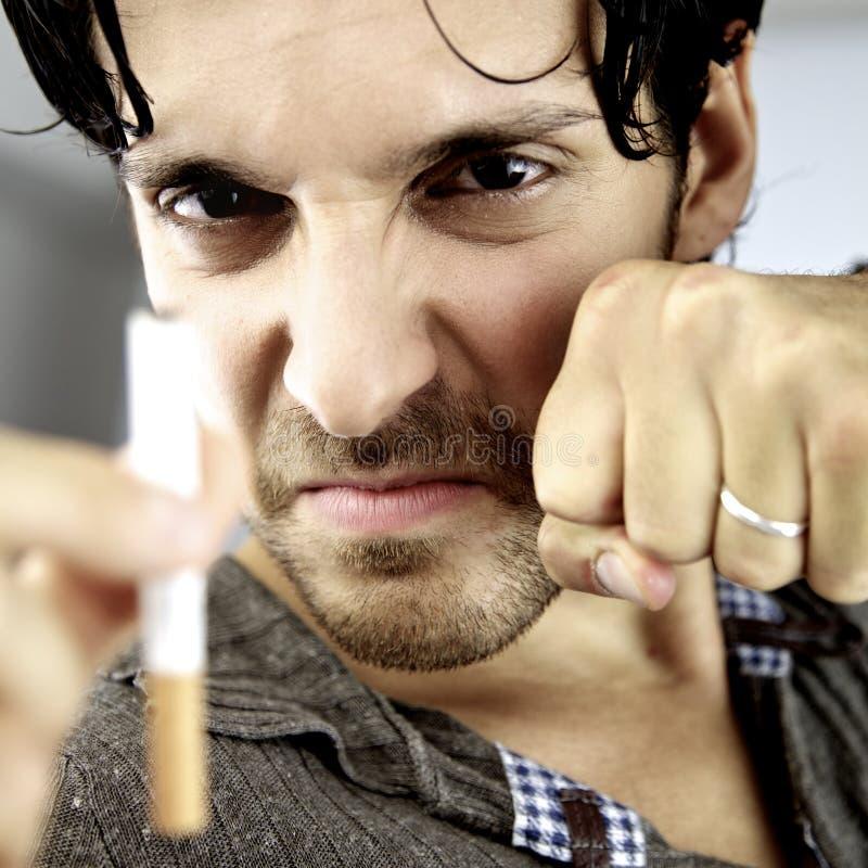 我将进行我的争斗反对我将停止抽烟的癌症 免版税图库摄影
