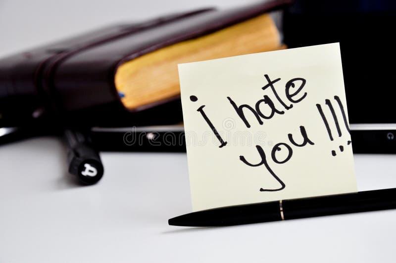 我恨您贴纸笔记 免版税库存照片