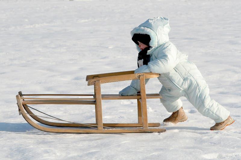 我推进的雪撬 库存照片