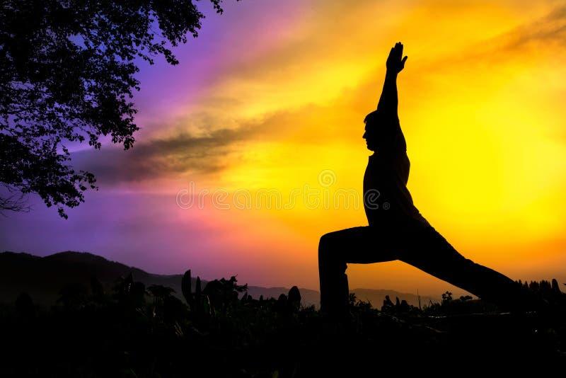 我摆在剪影virabhadrasana战士瑜伽 免版税库存图片
