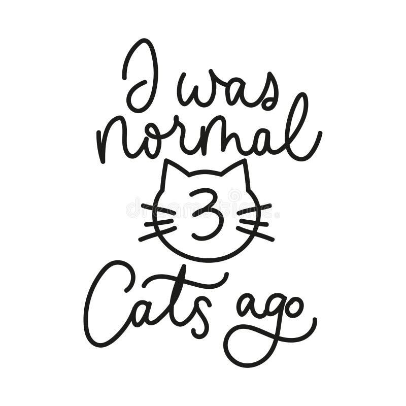 我是与被乱画的猫的正常三只猫前激动人心的卡片 线在白色背景隔绝的书信设计 ?? 库存例证