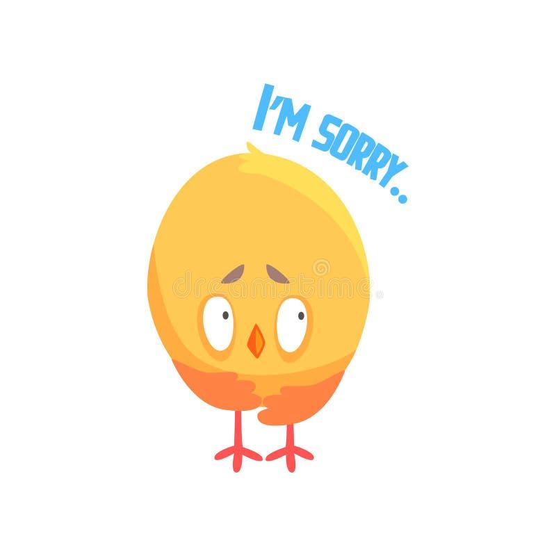 我是抱歉,滑稽的动画片可笑的鸡道歉的传染媒介例证 向量例证
