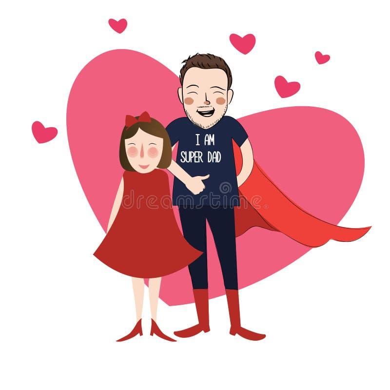 我是有她可爱的父亲的超级爸爸例证动画片女孩女儿 向量例证